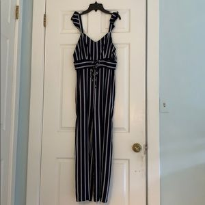 Brand new navy and purple jumpsuit